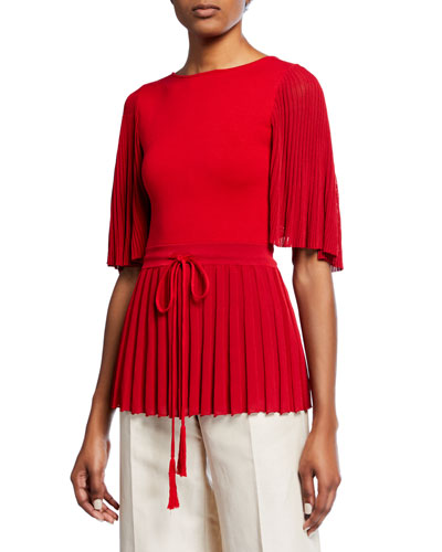 4e80a286872c0 Quick Look. Oscar de la Renta · Short-Sleeve Pleated-Trim Blouse ...