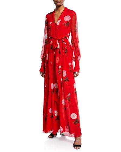 Long-Sleeve V-Neck Floral Maxi Dress
