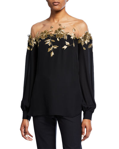 b53a00ae83e25 Quick Look. Oscar de la Renta · Long-Sleeve Golden Leaf Illusion Blouse