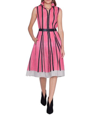 53daca9b A Line Cotton Print Dress | Neiman Marcus