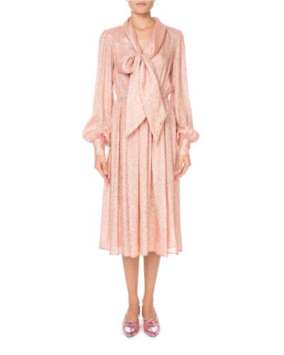 Shimmer Drape-Neck Long-Sleeve Dress