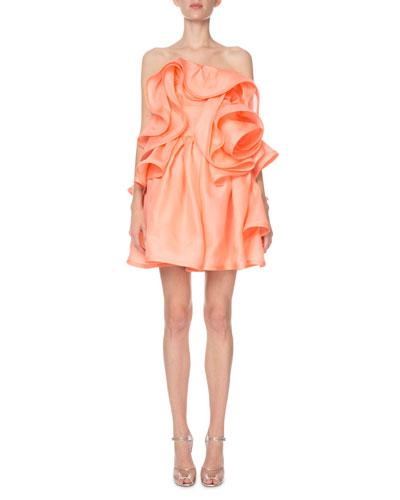 Strapless Ruffled Rosette Silk Cocktail Dress