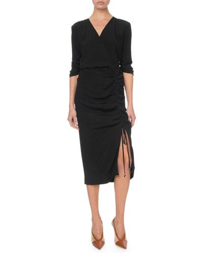 Seersucker 1/2-Sleeve Ruched Dress