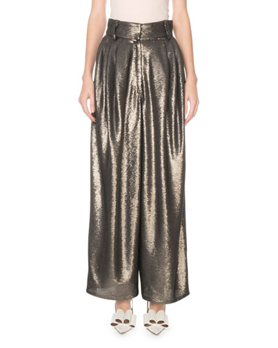 High-Rise Wide Leg Sequined Dressy Trousers