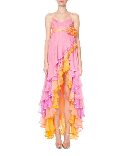 Tiered Cascading Chiffon Cocktail Dress