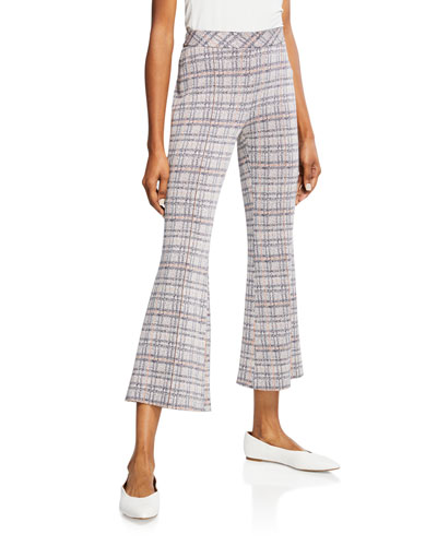 Plaid Jersey Pull On Cropped Pants