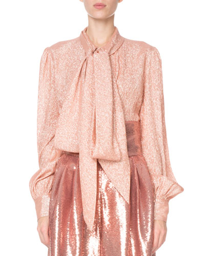 Shimmer Tie-Neck Blouse