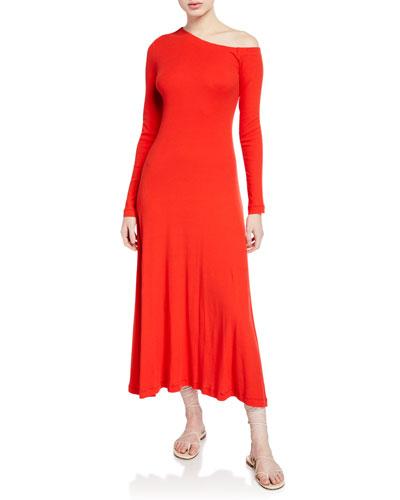 One-Shoulder Long-Sleeve Flare Dress