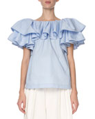 Marc Jacobs Tiered-Ruffle Poplin T-Shirt, Light Blue