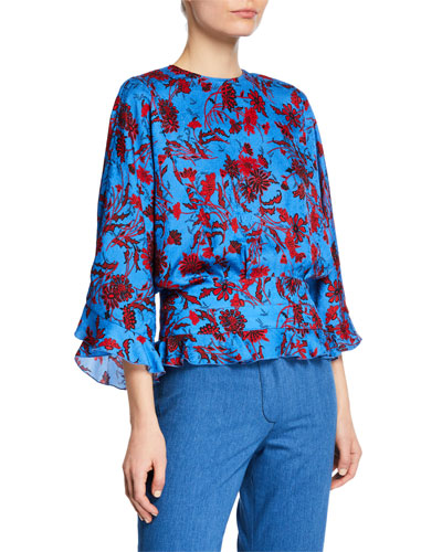 Short-Sleeve Nightshade Floral Blouse