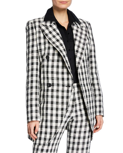 Double-Breasted Gingham Boyfriend Blazer