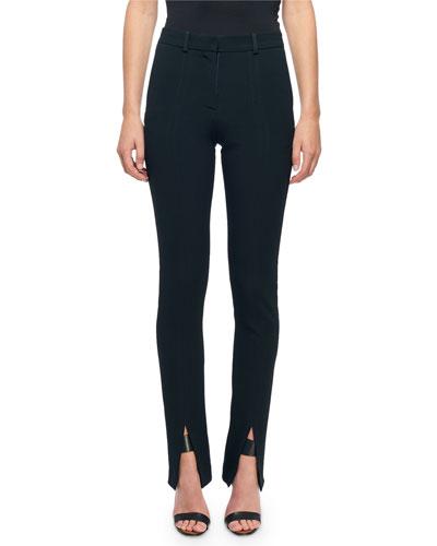 Skinny Flat-Front Slit-Cuff Pants