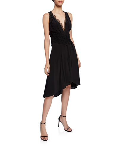 Lace-Trim High-Low Cocktail Dress