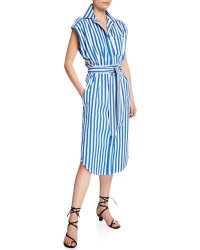 Sleeveless Striped Wrapped Shirtdress