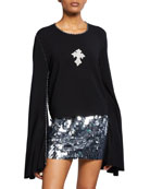 Made on Grand Sequined-Cross Bell-Sleeve Sweatshirt and Matching