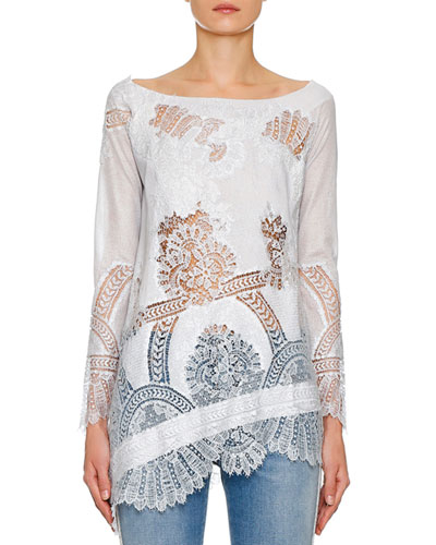 Long-Sleeve Foiled Lace-Inset Tunic