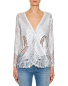 Ermanno Scervino Long-Sleeve V-Neck Foiled Lace-Trim Sweater