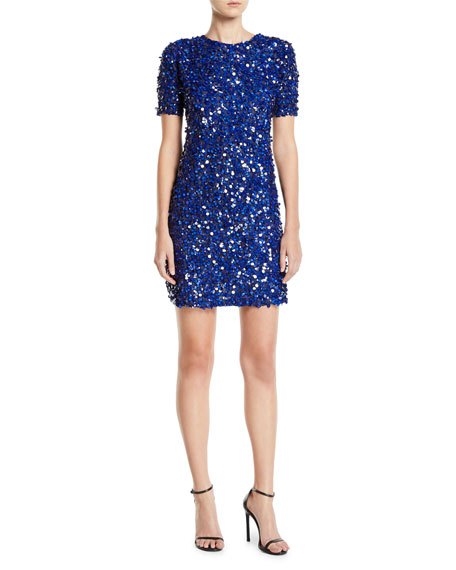 Zac Posen Short-Sleeve Sequined Sheath Dress