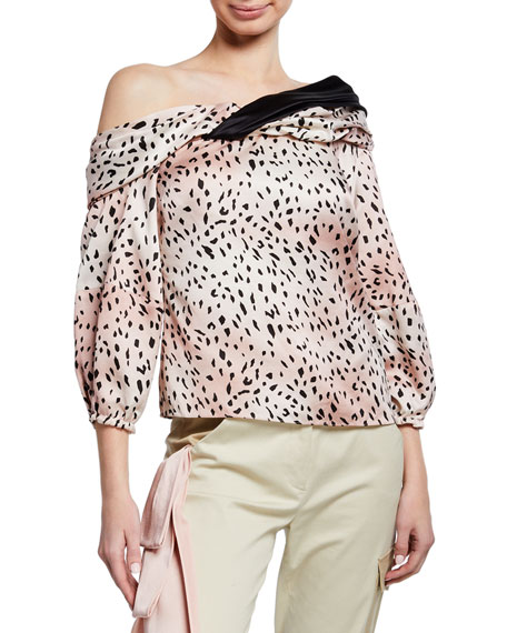 Hellessy Flora Asymmetric Draped Blouse