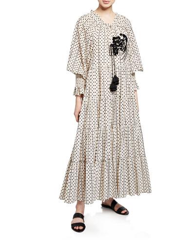 b647327eab Quick Look. Figue · Bella Long-Sleeve Dot Print Tiered Dress