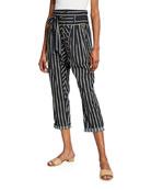 Figue Portia High-Waist Striped Jodhpur Pants