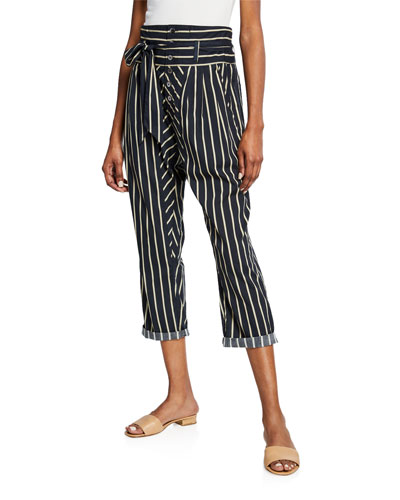 Portia High-Waist Striped Jodhpur Pants