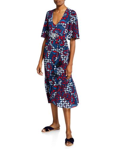 Nadine 1/2-Sleeve Tikki Floral Dress