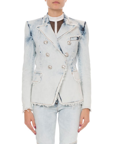 Classic Double-Breasted Bleached Denim Blazer