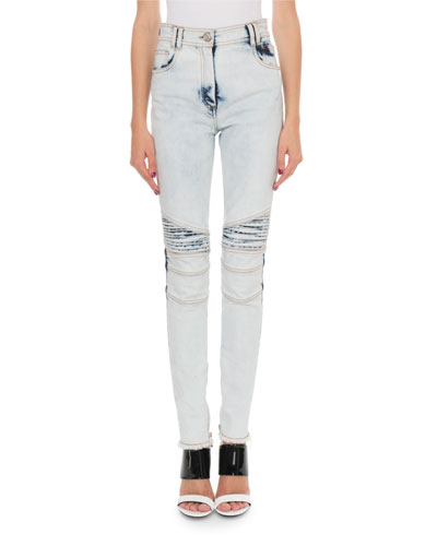 Bleached Denim Biker Jeans