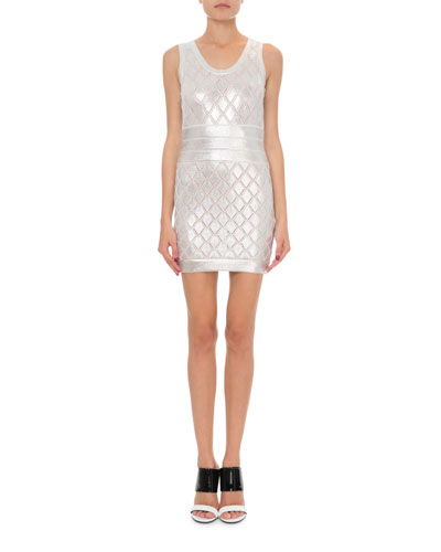 Sleeveless Metallic Scale-Knit Cocktail Dress