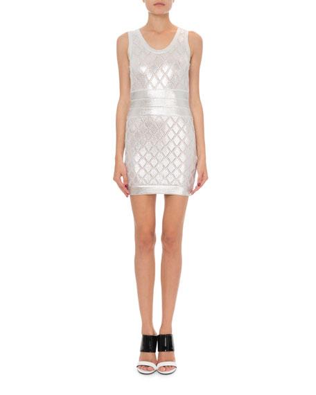 Balmain Sleeveless Metallic Scale-Knit Cocktail Dress