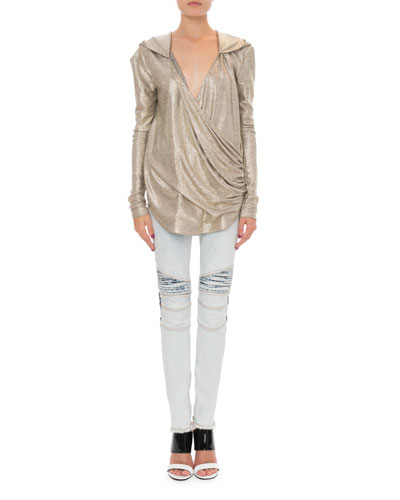 9377385f185 Quick Look. Balmain · Hooded Laminated Knit Wrap Top