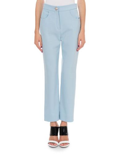 Straight-Leg Grain de Poudre Pants