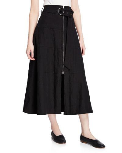 Amira Belted Rippled Linen Midi Skirt