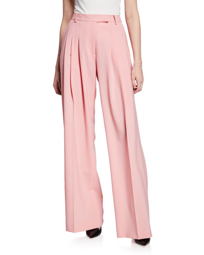 Gideon Pleated Front Wide-Leg Trousers