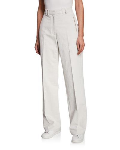 Ignacio Flat-Front Straight-Leg Canvas Trousers