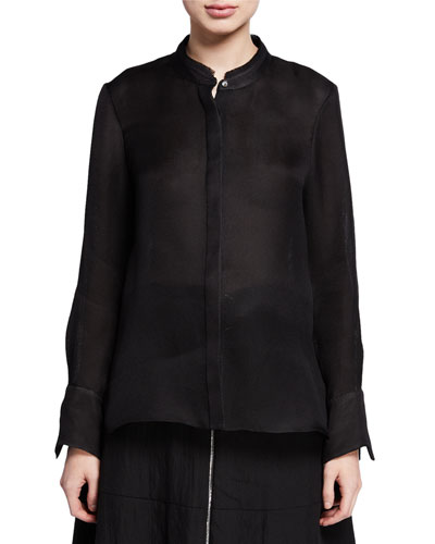 Lola Long-Sleeve Basketweave Silk Shirt