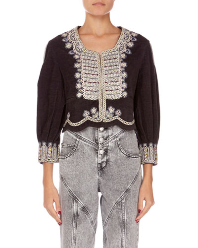 Amity Embroidered Crop Jacket