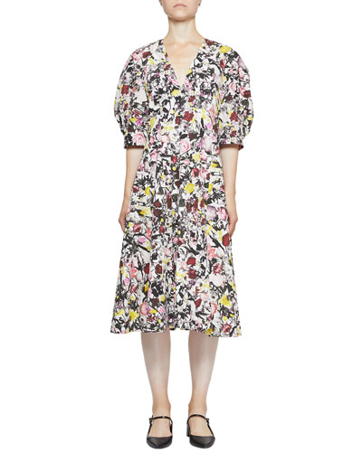 Cressida Cotton Poplin Floral V-Neck Dress