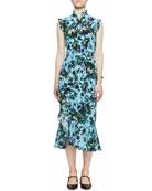Erdem Irina Floral Silk Belted Ruffle Dress