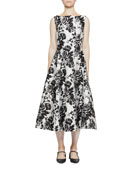 Erdem Rose Ikat Sleeveless Flared Midi Ftrdd