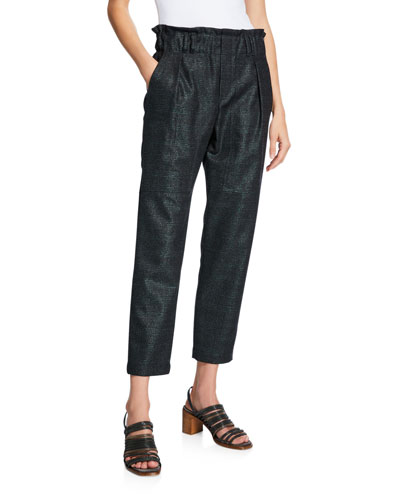 High-Rise Shimmer Plaid Cropped Pants