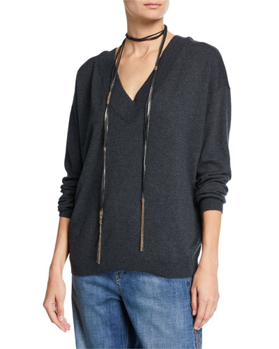 Cashmere V-Neck Sweater with Monili Necklace