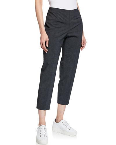 Audrey Straight-Leg Stretch-Wool Cropped Pants, Gray