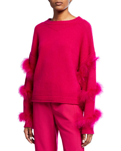 Cashmere-Silk Feather-Wrapped Sweater