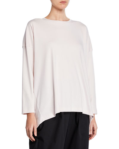 Long-Sleeve Basic High-Low T-Shirt