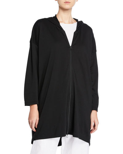 High-Low Hooded Zip-Front T-Shirt