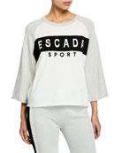 Escada Sport Logo-Striped 3/4-Sleeve Sport Sweatshirt