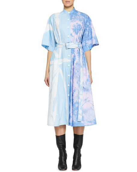 Proenza Schouler Belted Tie-Dye Cotton Midi Dress
