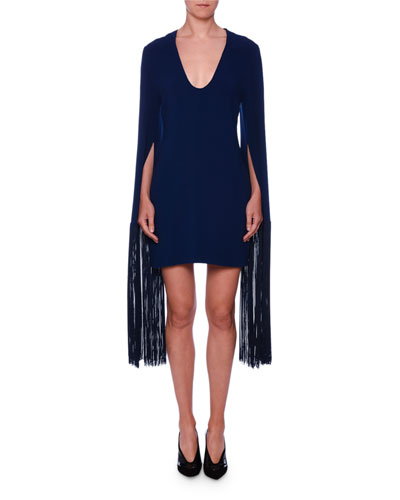 Quick Look. Stella McCartney · Fringe-Cuff V-Neck Mini Dress. Available in  Blue 7a25ab05a